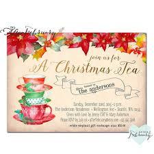Christmas Tea Party Invitations Christmas Tea Party Invitation Invites Christmas Tea