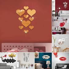 DIY <b>3D Mirror</b> Wall Sticker <b>Love</b> Heart Rabbit Deer Cartoon Acrylic ...