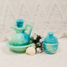 avon milk glass vanity set pitcher with basin and powder jar blue green milk glass