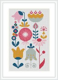 Modern Cross Stitch Patterns Impressive Retro Flower Modern Cross Stitch Pattern PDF Mid Century Etsy