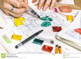 Interior Design Calculator Designer Makes A Sketch Of The Interior Stock Photo Image