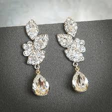 lysette swarovski crystal bridal earrings wedding chandelier earrings vintage inspired flower and leaf wedding dangle earrings jewelry