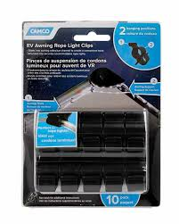 Camco 42708 Black Standard Awning Clip For Rope Light Two Hanging Positions