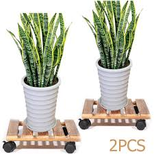 frequently bought together 2x wood plant stand caddy rolling wheeled flower pot holder