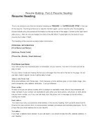 Heading For Resume Resume Building Part 2