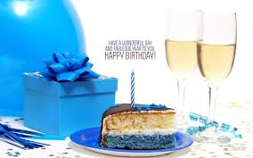 Happy Birthday Cake And Gift With Quote Wallpaper