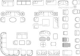 living room furniture free autocad drawings
