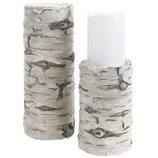 10 Inch Antique White Birch Candle Holder