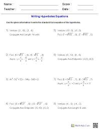 writing equations of hyperbolas worksheets