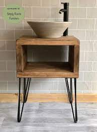 The Hairpin Wash Stand Sink Unit Hand Crafted Rustic Bathroom Etsy
