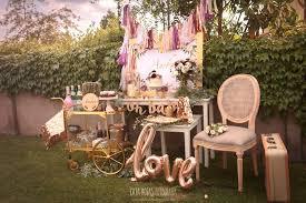 boho glam party spread from a burdy blush gold boho baby shower on kara s