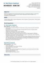 Career Objective For Real Estate Resume Real Estate Assistant Resume Samples Qwikresume