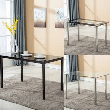 48x28glass Dining Table Wmetal Legs Kitchen Breakfast Dining Room