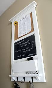 Vertical Wall Chalkboard Cork Bulletin Board with Mail Organizer and  Storage, Key hooks, and shelf from Rozemake