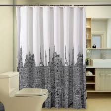 modern letters tower shower curtain bathroom waterproof bathroom curtains white black polyester fabric bath curtain with 12 hooks letters tower