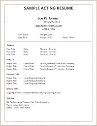 Acting Resume Sample Simple Sample Of Acting Resume Kenicandlecomfortzone