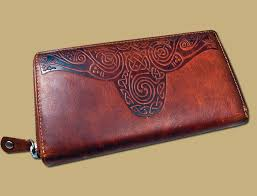 las celtic embossed leather wallet from ireland