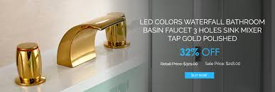 led colors waterfall bathroom basin faucet 3 holes sink mixer tap gold polished