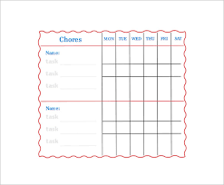 Family Chore Chart Template Family Chore Chart Template 14 Free Sample Example
