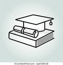 education icon graduation cap book and diploma symbol vector ilration