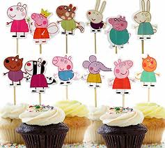 Easonove Peppa Pig Cupcake Toppers Party Decorative Cupcake Topper For Kids Birthday Party Baby Shower 24pcs