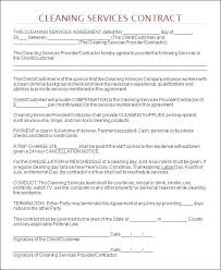 sample of contracts cleaning agreement template house cleaning services contract