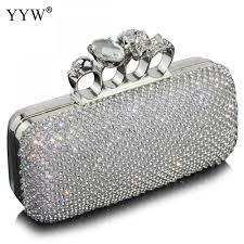 Designer Evening Bags Us 22 15 40 Off Diamonds Clutch Bags For Women 2018 Silver Evening Bag With Rhinestone Luxury Handbags Women Party Bags Designer Silver Purse In