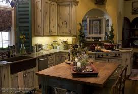 french country kitchen blue false exposed brick wall painted double door kitchen cabinets beautiful tile backsplash