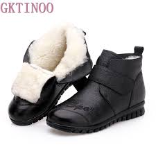 gktinoo winter shoes women flats ankle boots woman fashion genuine leather boots mother casual non