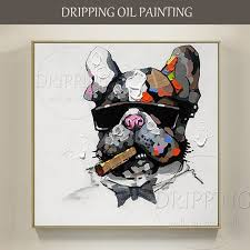 artist hand painted high quality funny french bulldog oil painting on canvas smoking dog animal