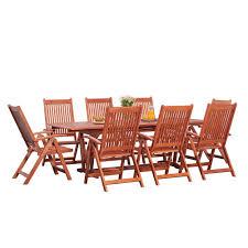 Vifah Malibu Brown <b>9</b>-<b>piece Folding</b> Chairs <b>Patio</b> Dining Set | The ...