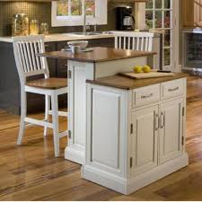 two level small kitchen island in white finished using wooden top also two drawer storage feat white wooden armless stools