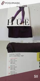Hue Control Top Tights Size Chart Nip Hue Luster Tights Control Top Fig Purple 1 Brand New