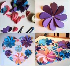 How To Make A Flower Out Of Paper Step By Step How To Make 3d Flower Paper Artwork Easy Craft Idea For Kids And