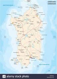 Road Map Of The Italian Mediterranean Island Sardinia Stock Vector