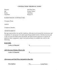 Job Proposal Form Bid Proposal Templates Contract Format Job Template Form