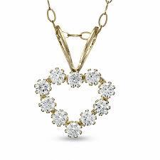 child s cubic zirconia heart pendant in 14k gold