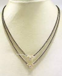 black beads chain with solitaire