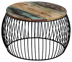 vidaxl solid reclaimed wood coffee table round 68x35 cm contemporary coffee tables by vida xl international b v