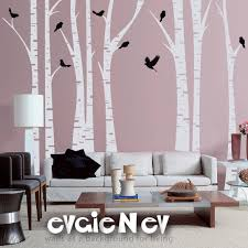 large wall decals tree forest with birds tree wall decal wall sticker trfr010r 95 00 via etsy  on white birch tree wall art with forest wall decals famous birch trees with birds wall sticker