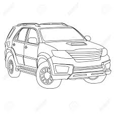 Suv car outline royalty free cliparts vectors and stock rh 123rf suv front tree outline