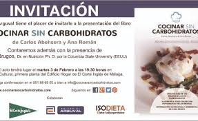 Invitación Presentación Libro Cocinar Sin Carbohidratos