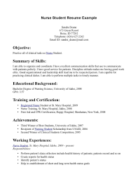 Resume Examples For Nursing Students Examples Of Resumes