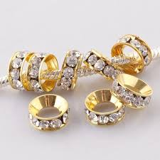 50PCS 10mm Gold Plated Clear <b>Crystal</b> Rhinestones Spacer Big ...