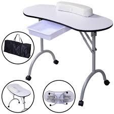 costway portable manicure nail table station desk spa beauty salon equipment white 0