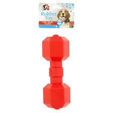 logical pet rubber squeaky dumbbell dog toy