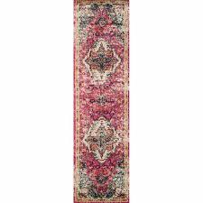 vintage bohemian pink multi fl medallion distressed runner rug 2 2 x 8