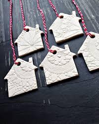 5 Weihnachten Ornamente Weiß Keramik Weihnachtsbaum Haus