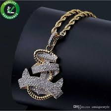 whole iced out chains pendant designer necklace hip hop jewelry mens vintage anchor pendant diamond luxury cuban link wedding pandora style charms key