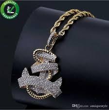 whole iced out chains pendant designer necklace hip hop jewelry mens vine anchor pendant diamond luxury cuban link wedding pandora style charms key